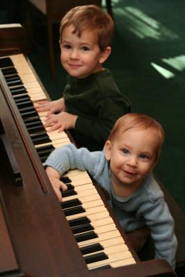 Owen and Ivan at the piano at my grandparents' house
